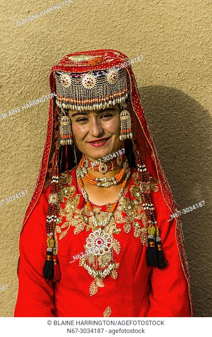 A Tajik minority woman in traditional clothing, Taxkorgan is along the Karakoram Highway (Historically, this was a caravan stop of the ancient Silk Road)