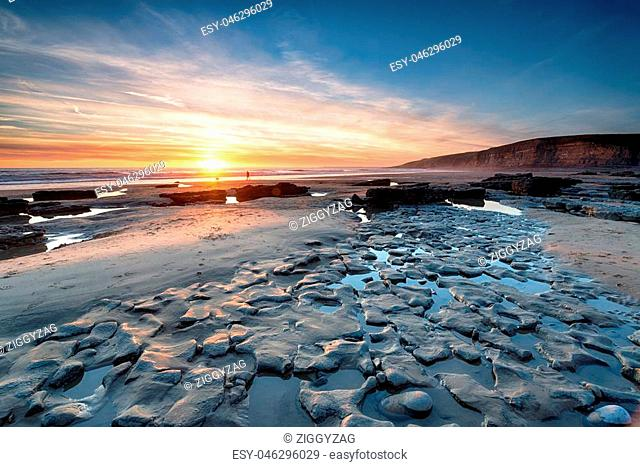 Sunset at Dunraven Bay a large beach at Southerndown on the south coast of Wales