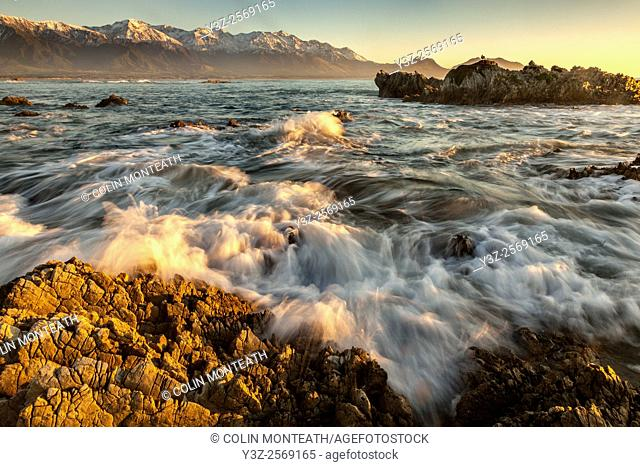 Dawn on limestone rocks, Kaikoura, Canterbury, New Zealand