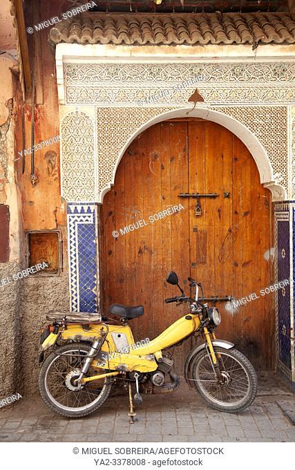 Bike in Front of Arched Door in the Medina, Marrakech