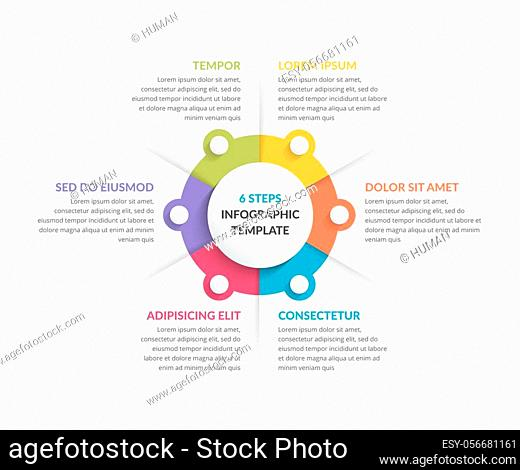 Circle diagram template with six steps or options, infographic template for web, business, presentations, vector eps10 illustration