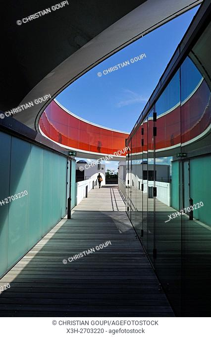 the installation ''Your rainbow panorama'', a circular skywalk with windows in the colors of the rainbow (by Olafur Eliasson