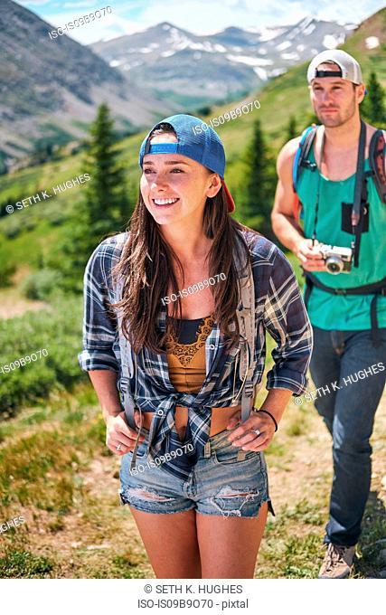 Couple hiking in Rocky mountains, Breckenridge, Colorado, USA