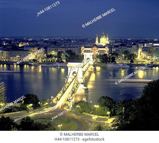 at night, bridge, Budapest, city, Hungary, Europe, night, overview, river Danube, Szechenyi suspension bridge, town