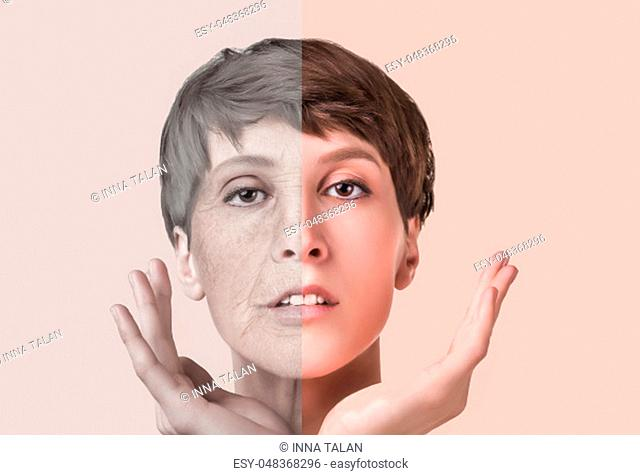 Anti-aging, beauty treatment, aging and youth, lifting, skincare, plastic surgery concept. Beautiful girl with young face and half face of old woman with...