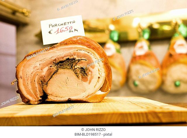 Close up of stuffed Italian porchetta