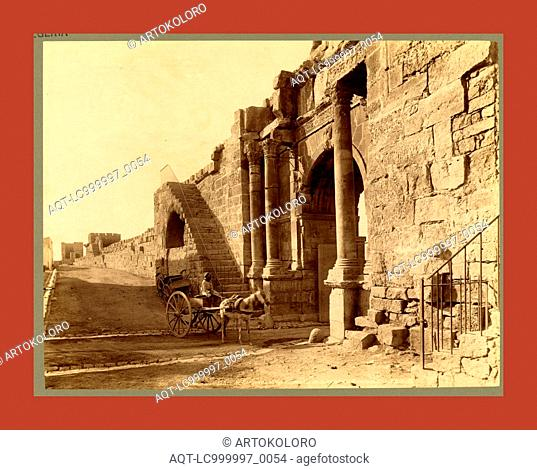 Tebessa, Arch of Caracalla and the walls of the Byzantine citadel, Algiers, Neurdein brothers 1860 1890, the Neurdein photographs of Algeria including Byzantine...