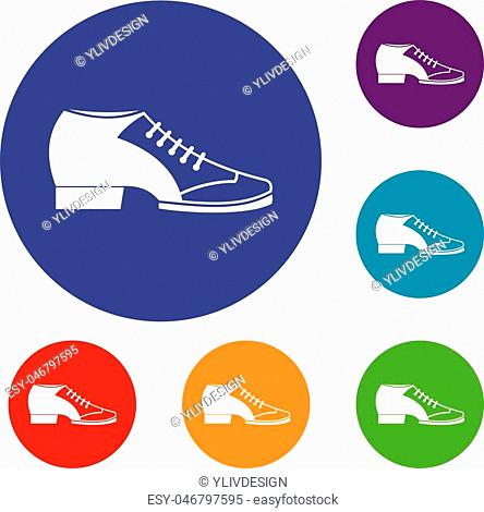 Tango shoe icons set in flat circle red, blue and green color for web