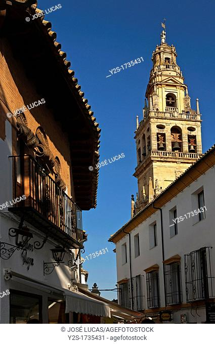 Urban view with minaret of the arab mosque, Cordoba, Spain