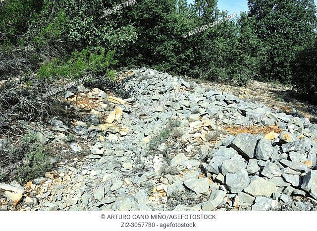 Remains of Republican military position during the Spanish Civil War.The Alto Tajo Natural Park.Huertahernando town, Guadalajara province, Spain