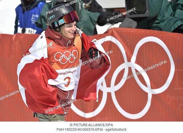 20 February 2018, South Korea, Pyeongchang, Olympics, Freestyle Skiing, Half-pipe, women, Bokwang Phoenix Snow Park: Winner Cassie Sharpe fromCanada celebrates