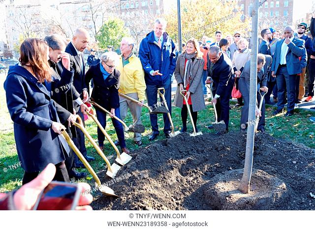 Bette Midler and New York City Mayor Bill de Blasio attend the One Millionth Tree planting in the Bronx Featuring: Bette Midler, Mayor Deblasio