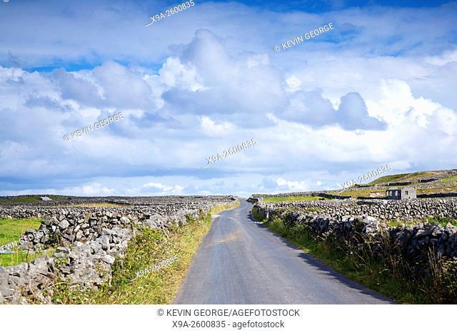 Open Road near Kilronan on Inishmore, Aran Islands, Ireland