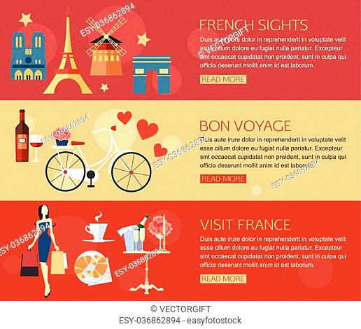 Set of France travel horisontal banners with place for text. French Sights, Visit France, Bon Voyage. Set of colorful flat icons for your design