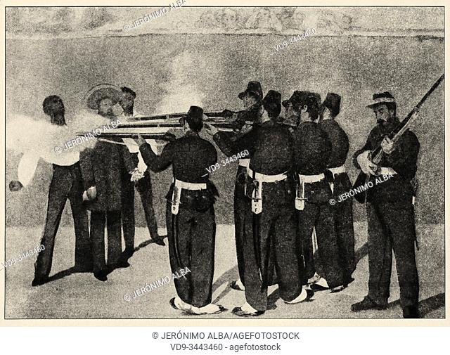 Mexican war. Execution of Emperor Maximilian of Mexico, General Miguel Miramón, and General Tomás Mejia by firing squad. History of France