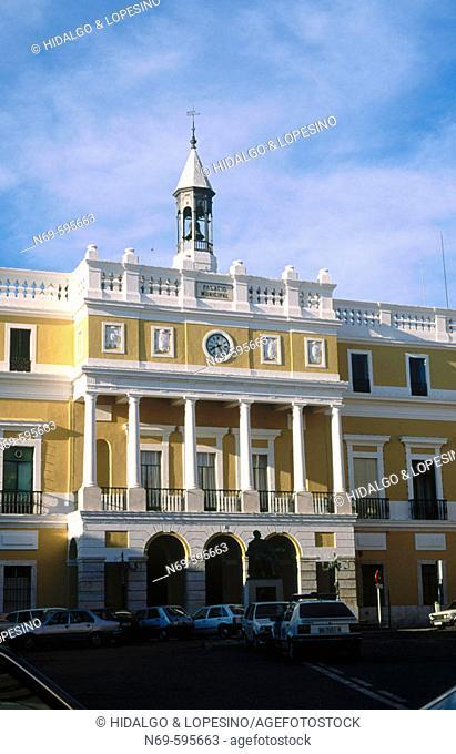Town hall. Neoclassical style façade. Badajoz. Extremadura. Spain