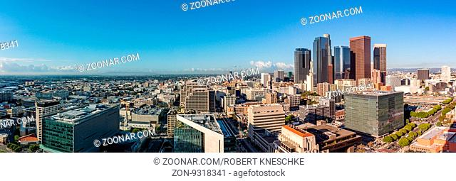 Panorama view of Los Angeles skyline with Financial District skyscrapers