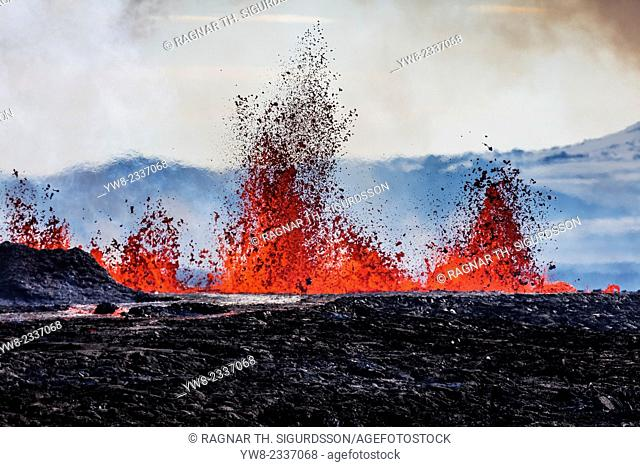 Aerial view of lava and plumes. August 29, 2014 a fissure eruption started in Holuhraun at the northern end of a magma intrusion
