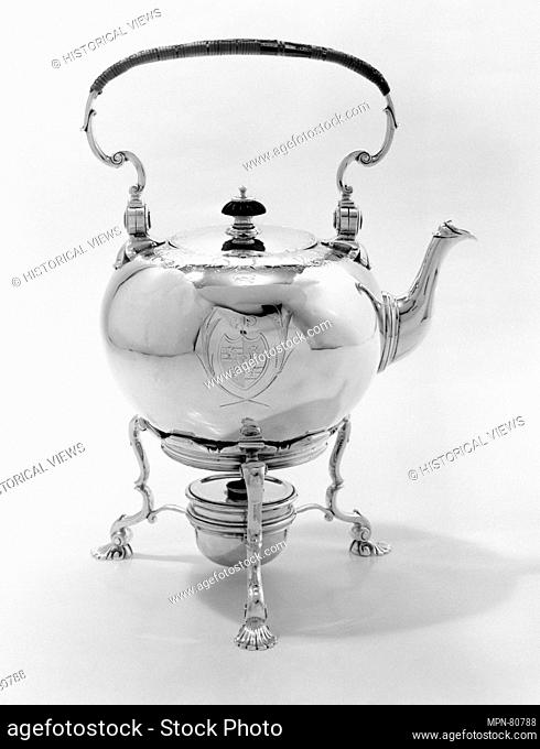 Hot water kettle with stand. Maker: Thomas Farrer (entered 1720); Date: 1734-35; Culture: British, London; Medium: Silver, wood; Dimensions: Height: 13 1/2 in