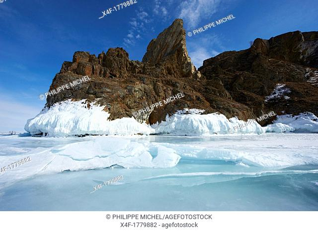 Russia, Siberia, Irkutsk oblast, Baikal lake, Maloe More little sea, frozen lake during winter, Olkhon island