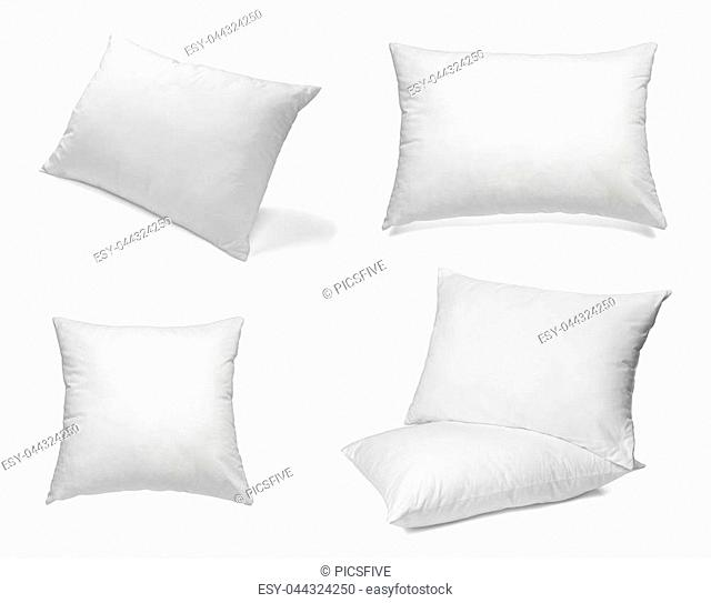 collection of various white pillows on white background. each one is shot separately