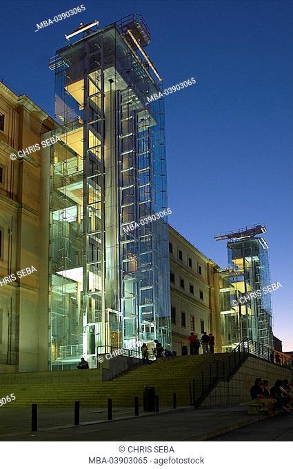 Spain, Madrid, Museo Reina Sofia, outside, twilight