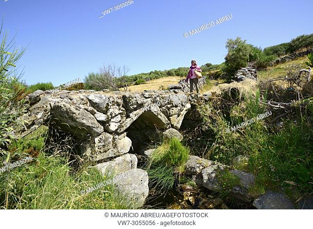 Medieval bridge in Portos, Castro Laboreiro, that linked Portugal to Galicia in Spain. Peneda Geres National Park, Portugal