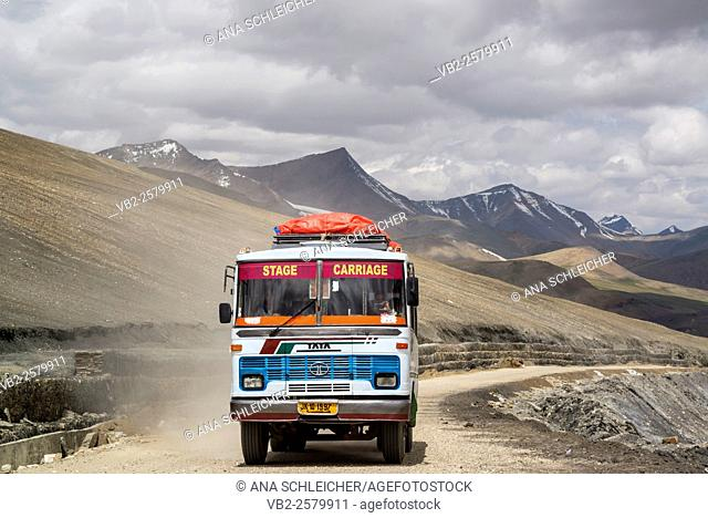 Public bus achieving Taglang La (5328m). Second highest motorable pass of the World. Ladakh (india)