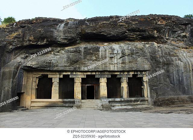 Outside view of Cave 18, Hindu cave, Ellora, Aurangabad, Maharashtra, India