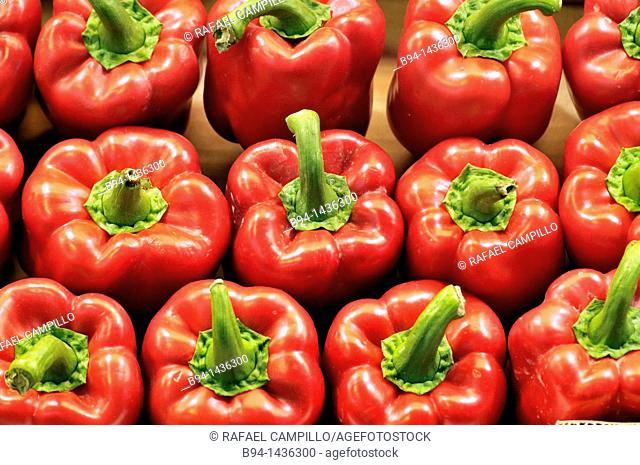 Red peppers at La Boqueria market, Barcelona. Catalonia, Spain