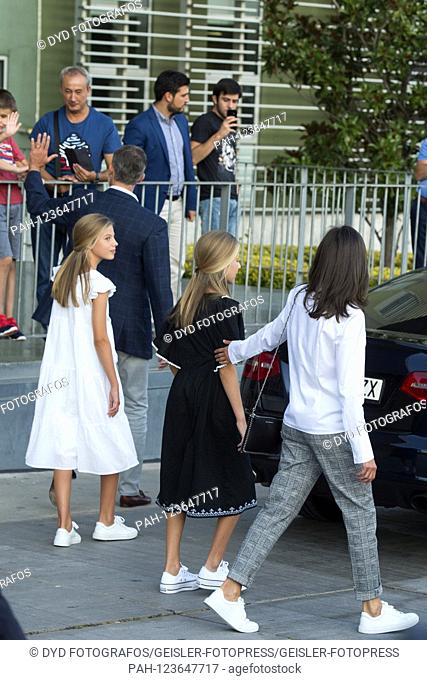 Princess Sofia of Spain, King Felipe VI. From Spain, Princess Leonor of Spain and Queen Letizia of Spain visit Juan Carlos after his heart surgery at the...