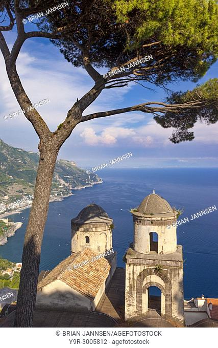 View of the Amalfi Coast from Villa Rufolo in the hilltop town of Ravello in Campania, Italy