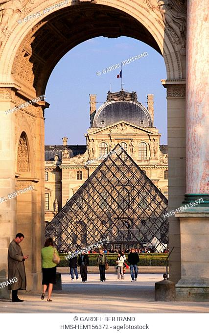 France, Paris, Louvre museum and Pyramid by the architect Ieoh Ming Pei