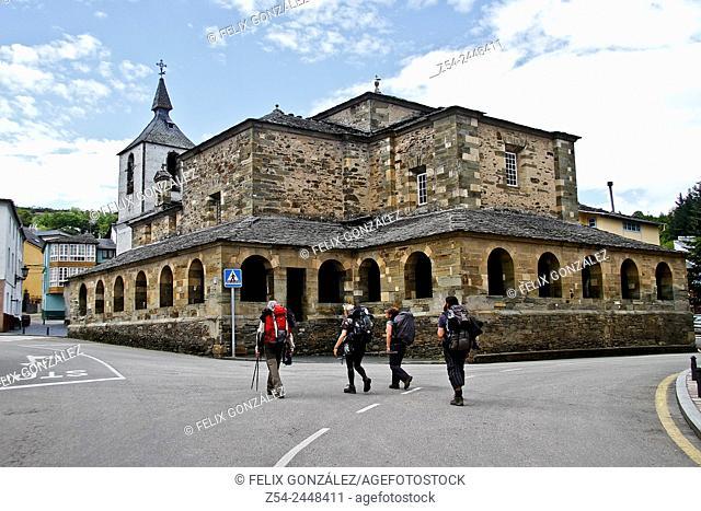 Pilgrims at Colegiata de San Salvador, Grandas de Salime St James Way Primitivo, Asturias, Spain