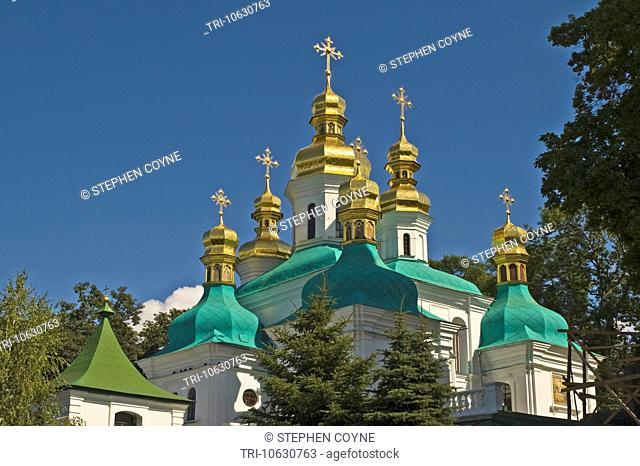 UKRAINE Kiev Kyiv-Percherska Lavra Orthodox Caves Monastery Ð orig 1051 Church of the Cross Exaltation 1700 and Conception of St Ann 18th C green