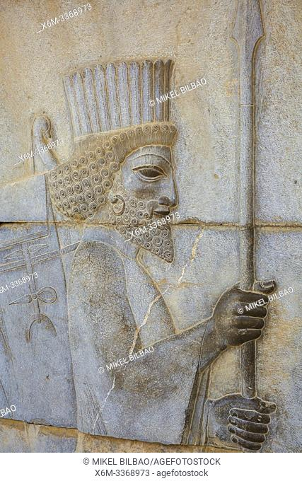 Bas-relief in the apadana palace staircase. Persepolis ancient city ruins. Iran, Asia