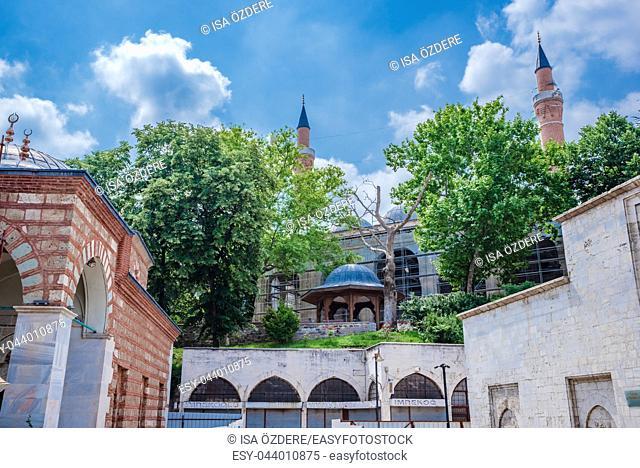 View of Yildirim Bayezid complex,a mosque complex complex built by Ottoman Sultan Bayezid I Bursa,Turkey. 20 May 2018