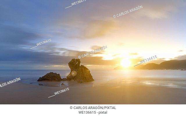 Sunrise in the Noja beach, in Noja, Spain