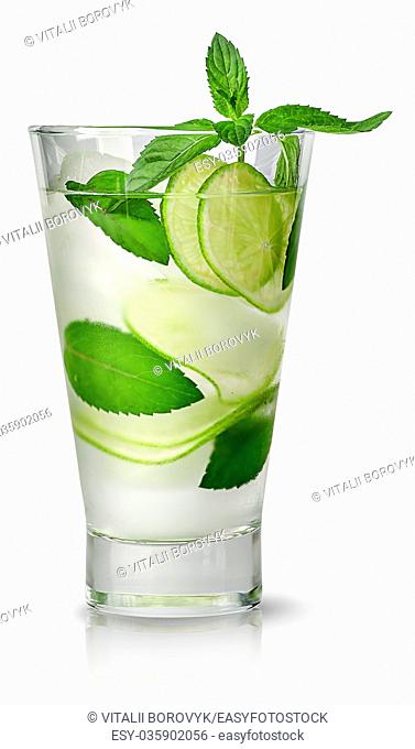 Mojito with ice in glass isolated on white background