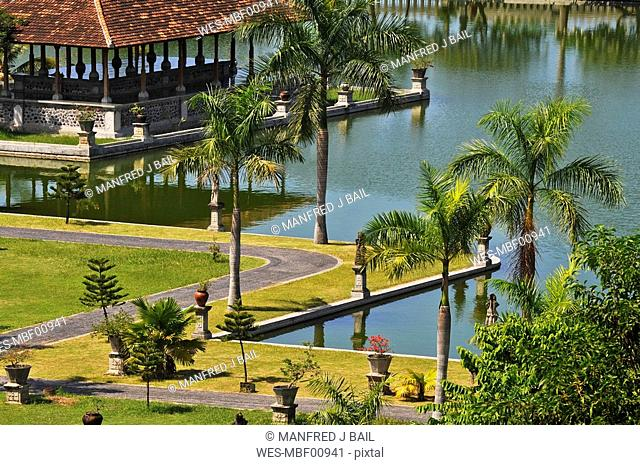 Asia, Indonesia, Bali, Puri Taman Ujung, Water palace, elevated view