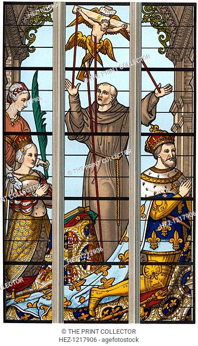 'Francis I and Eleonore at their Devotions', 1515-1547, (1870). Portion of a stained glass window in the church of St Gudule, Brussels
