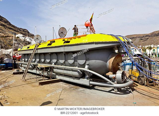 Submarine for tourists in the dry dock, Puerto de Mogan, Gran Canaria, Canary Islands, Spain, Europe, PublicGround