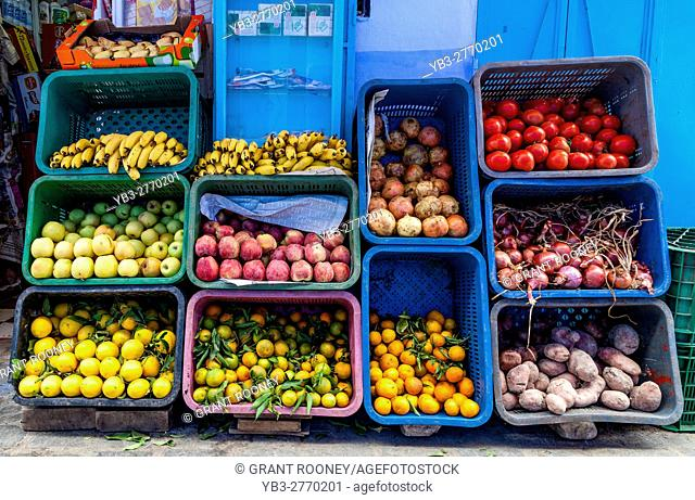 A Fruit and Vegetable Display Outside A Shop, Chefchaouen, Morocco
