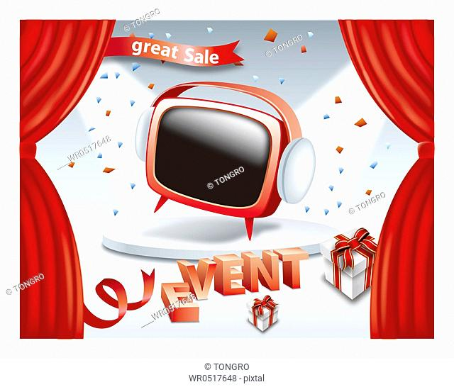 Great sale and event promotion with red TV on stage