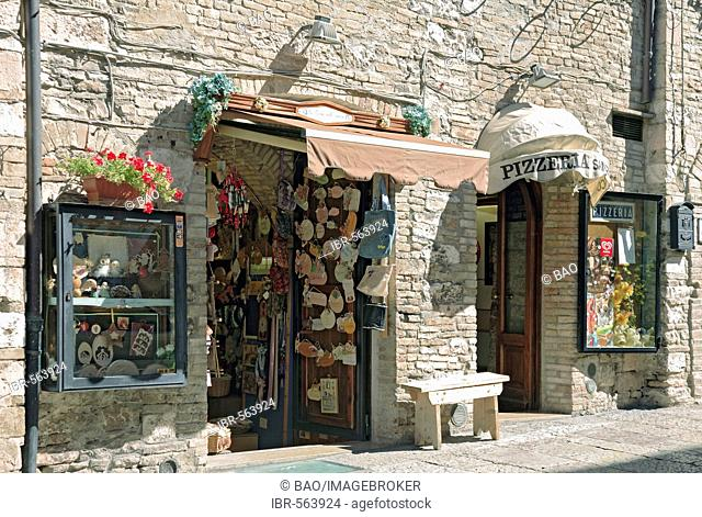 Souvenir shop in the old town, Assisi, Umbria, Italy