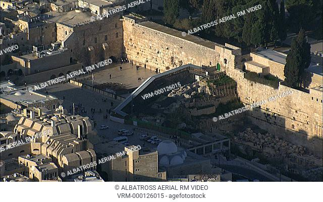 Aerial HD footage of the Western Wall in the old city of Jerusalem