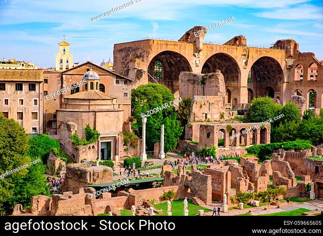 Basilica of Maxentius at Roman Forum, a forum surrounded by ruins in Rome, Italy