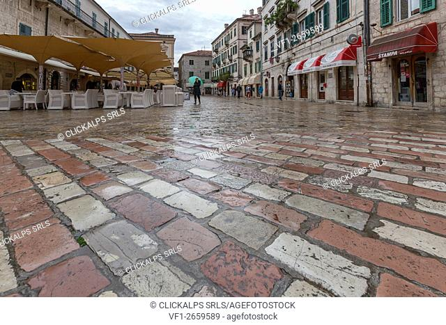 In the old town of kotor the beautiful paving between the shops and historic buildings in the Venetian style. Kotor, Montenegro