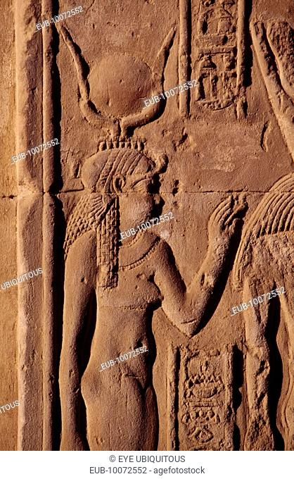 Relief carving of the goddess Hathor