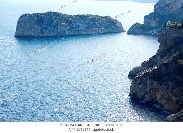 Cliffs of Cabo de La Nao and Discoverer Island, Javea, Xabia, Alicante, Spain, Europe